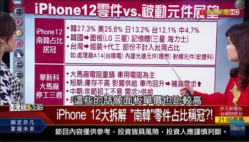 台股驚見五大警訊! iPhone 12大拆解 〝南韓〞零件占比稱冠?!