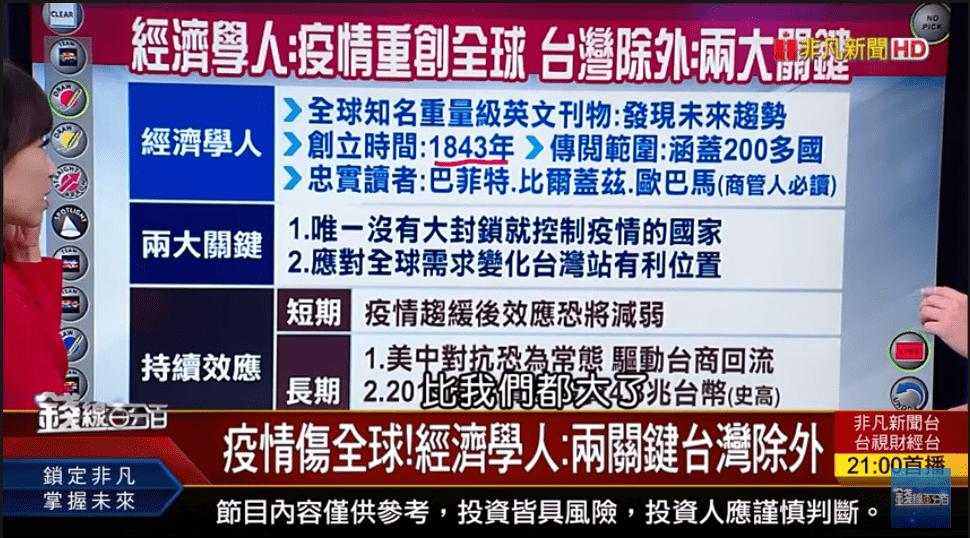 疫情傷全球!經濟學人:兩關鍵台灣除外 (唯一沒有大封鎖就控制疫情的國家)